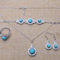 福华珠宝S925银镀金天然安徽绿松石大项链耳环套装女欧美流行饰品