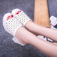 2015新款夏季高跟鞋浅口洞洞鞋粗跟凉鞋防水台女士鱼嘴鞋一件代发