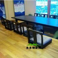 批发黑色大理石餐桌 方形大理石餐桌 长方形连体 料理店 餐厅可用