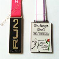 高档外贸锌合金点漆运动会马拉松奖牌定做 方形圆形织带奖牌