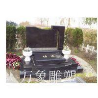 中国黑传统石雕墓碑 批发手工订定做公墓墓碑 石材家族组合墓碑