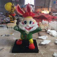 厂家供应玻璃钢尖牙兔海绵宝宝青苹果雕塑