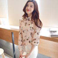 2015春夏季新款韩版雪纺长袖印花衬衫修身显瘦时尚百搭衬衣女