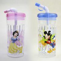 正品迪士尼 583儿童水壶水杯/随手直吸式塑料杯/350ML便携水晶杯