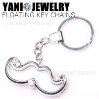 创意钥匙扣 钥匙配饰 龙虾扣 DIY 可放相片漂浮玻璃钥匙扣挂件