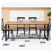 复古铁艺餐桌书桌 美式乡村实木家具饭桌 定做餐馆咖啡厅酒吧桌