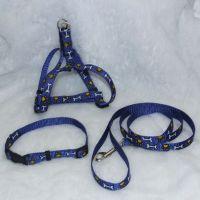 狗狗伸缩牵引胸背带套装  可拆分调节 尼龙印狗骨头脚印牵引绳