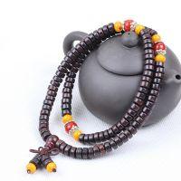 直销 印尼黑檀木鼓形佛珠手串 带玛瑙隔珠108片 工艺品 木珠手链