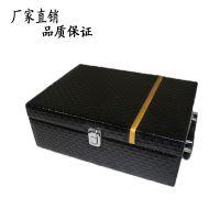 现货高级葡萄酒包装盒 现货红酒皮盒双支 黑色高级钻石纹红酒皮盒