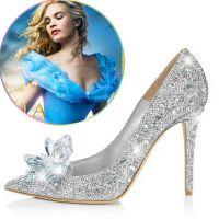 灰姑娘同款水晶婚鞋 尖头高跟鞋细跟水钻单鞋大码新娘鞋伴娘女鞋