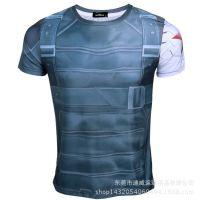 美国队长2短袖t恤冬日战士印花t恤冬兵钢铁手臂复仇者 一件代发