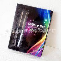 厨房用品 外贸出口 印花塑料柄刀叉勺系列 不锈钢彩盒餐具套装