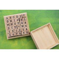 韩国文具 DIY个性大写字母数字印章 学生印章 木质印章