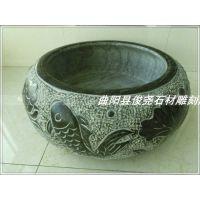 现货仿古做旧鱼缸花盆曲阳石雕圆 天然青石头槽石材手工艺术品