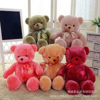 厂家直销七彩小熊毛绒玩具小号泰迪熊公仔绣花熊猫儿童节礼物批发