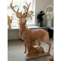 石雕鹿 晚霞红母子鹿 动物雕塑摆件 工艺品装饰 曲阳石雕