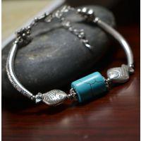云南现在民族风特色复古饰品批发 绿松石藏饰藏银手链SL012