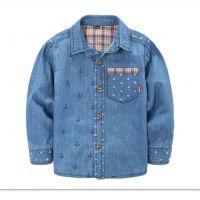 新款男童长袖牛仔色衬衣 新款韩版童衬衣 儿童打底衫衬衣 童衬衣