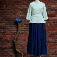 中式改良款棉麻青绿色唐装汉服白色里衬茶服