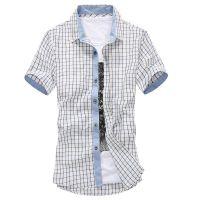 10117-2015夏季新款 欧洲站时尚男士新款格子短袖衬衫 特价衬衣