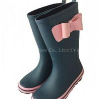 Girls Rubber Rain Boots With Bowknot
