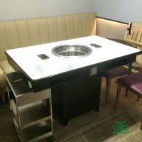 高端微晶石火锅桌定制 优质大理石火锅餐桌椅工程厂家 运达来餐厅桌椅