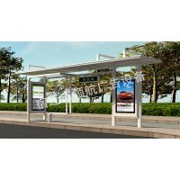 公交候车亭厂家批发新型智能太阳能候车亭双面滚动系统高温静电喷塑