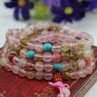 天然多圈樱桃水晶杂发晶手链 108颗西瓜晶粉水晶佛珠手链