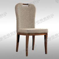 实木布艺靠背餐椅 休闲椅 欧式餐厅/火锅店单人椅子