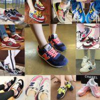 韩国百搭拼色N字母休闲鞋运动N字鞋慢跑鞋子女阿甘学生女N仔球鞋