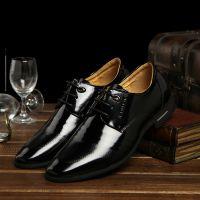 男士商务皮鞋男真皮正品韩版男鞋英伦尖头正装漆皮皮鞋系带婚鞋
