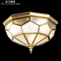 雷卡纳蒂欧式全铜灯简约欧式古典焊锡玻璃过道玄关门厅全铜吸顶灯美式田园复古阳台灯