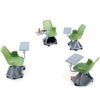深圳众晟家具PTC-020-A写字板及椅身可360度旋转塑料培训椅带储物功能