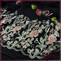 百花花边 黑色网布金属线红花刺绣 刺绣面料 服装辅料