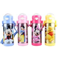 正品迪士尼吸管杯 米奇不锈钢水壶 弹跳保温吸管壶5653 特价