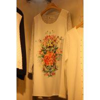 2015韩国东大门春装新款 进口女装批发 印花七分袖撞色打底衫T恤