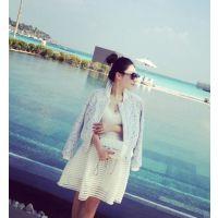 小银子2015春装新款韩版帅气双层蕾丝质感棒球短外套
