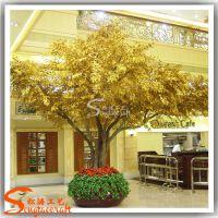 广州厂家直销仿真许愿树 玻璃钢仿真金色榕树 酒店高档装饰金榕