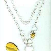 Fashion Silver Cable Chain Semi Precious Stone Tiger Eye Necklace Pendant