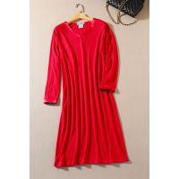 欧美女装外贸原单批发宽松超大码睡衣纯色睡裙长裙家居服G150A