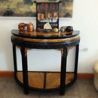 缅甸黄金樟双拼圆桌 古典红木家具圆桌  实木高档餐桌 半圆玄关桌