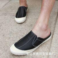 新款男士半拖鞋夏季韩版包头潮流懒人鞋男鞋子正品真皮凉拖批发