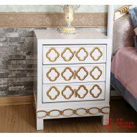 欧式床头柜 三个抽屉 新古典实木床头柜 环保 卧室床头柜 现货