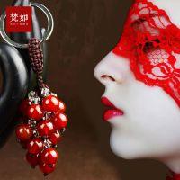 精品纯手工编织红玛瑙水晶钥匙扣汽车钥匙扣钥匙挂件创意新款