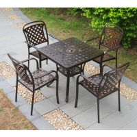肇庆户外家具批发 铸铝桌椅 全金属休闲椅 西餐厅露天桌椅