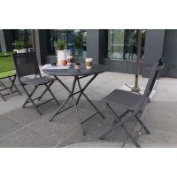 诺佰斯BML15214便携铝合金折叠圆桌餐饮咖啡外摆一桌两椅组合庭院露台折叠桌