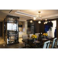 厂家定制西餐厅现代简约镜面黑钛金不锈钢包边玻璃酒柜