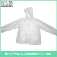 YJ-1057 Clear Transparent PVC Womens Lightweight Rain Jacket Ladies Rainwear