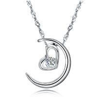 月亮代表我的心 925纯银项链 心形项链 批发项饰 s925银 一件代发