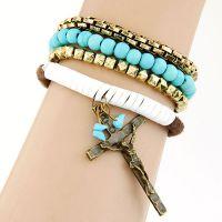 欧美时尚 金属糖果珠复古 十字架坠多层手链
